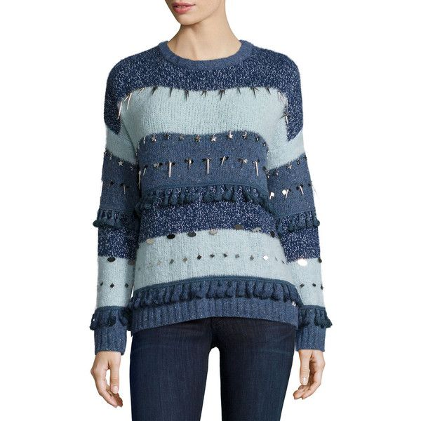Banjo and Matilda Trinket Embellished Stripe Sweater ($415) ❤ liked on Polyvore featuring tops, sweaters, blue pattern, dolman-sleeve sweater, long blue sweater, jeweled sweater, slim fit sweater и pattern sweater