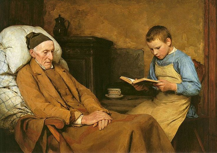 """Albert Anker. 1893 """"Die Andacht des Grossvaters"""" Lessons in taking care of the elderly starts from childhood"""