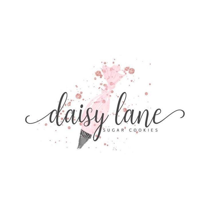 Premade logo, logo design, watermark design, bakery, cookies, icing bag, bakery logo, watercolour, whimsical, cake logo, piping bag, pink
