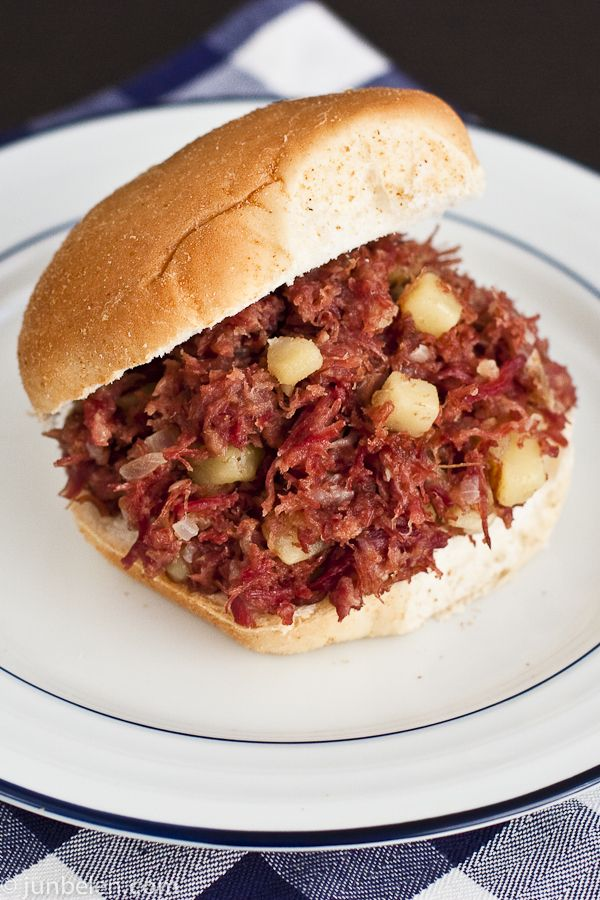 Filipino style corned beef hash. Growing up, we would have this for breakfast, lunch, or dinner. Served on a Hawaiian roll or over rice with a fried egg on top.