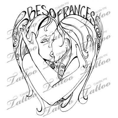 Marketplace Tattoo Besos Frances #11818 | CreateMyTattoo.com