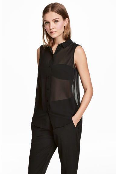 Mouwloze blouse - Zwart - DAMES | H&M NL 1