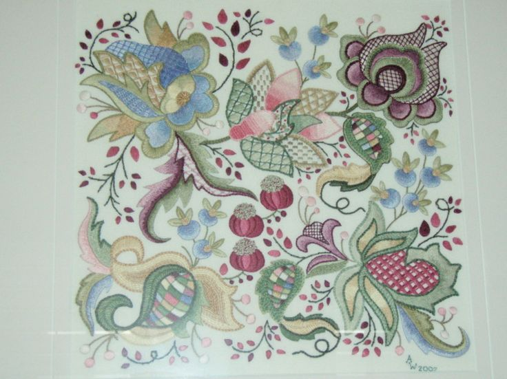 jacobean embroidery | Jacobean embroidery: Design by daaftdesigns. Stitched in DMC threads ...
