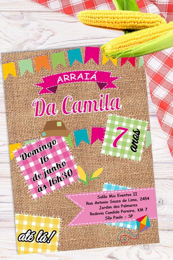 Convite Festa Junina Para Editar No Word Clique No Pin E Adquira