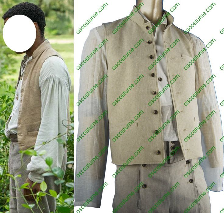 12 Years a Slave Golden Globe Award Solomon Northup 3-piece cosplay costume  Including: three-piece suit. Shirt, vest and a pair of pants Intricate details with the most accurate replica of Solomon Northup overalls. White shirt: cotton slubbed fabric Grey vest: linen; lining: yellow silk Light grey pants: linen High quality fabric Machine wash