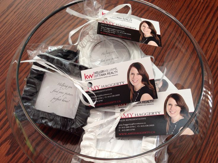 """Open house giveaways!  Frames say """"Helping you find your picture perfect home!""""."""