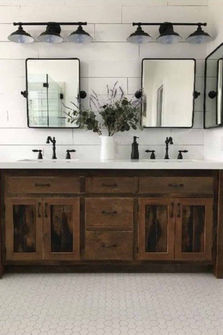 Awesome Double Sink Bathroom Ideas Decor Rustic Bathroom Laundry In 2020 Rustic Master Bathroom Master Bathroom Decor Farmhouse Master Bathroom
