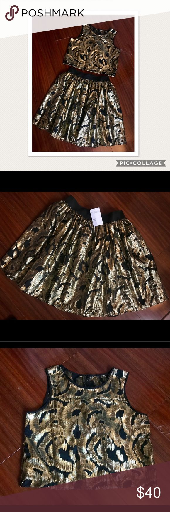 ✨Nordstrom Store✨ 2 pieces Set Gold&Black Super chic and Fashion 2 pieces Set - skirt & blouse - black & golden design Size S or 14 Nordstrom Dresses