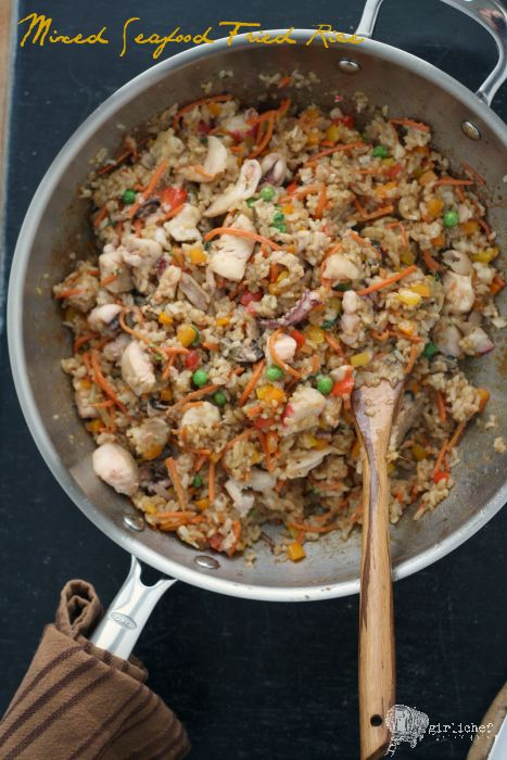 Mixed Seafood Fried Rice: classic fried rice loaded with fish and seafood.