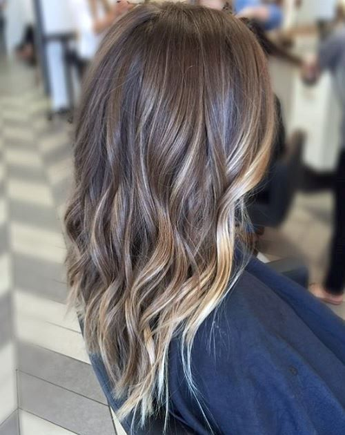 Balayage lights blond brown layers medium hairstyles 2017