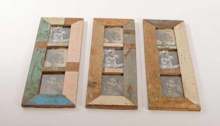 Scrapwood fotolijst voor 3 foto's. Het is gemaakt van oud teakhout uit huizen uit India, vaak met de originele verf er nog op. Elk item is uniek en verschillend van kleur. www.buitengewoonmooi.com