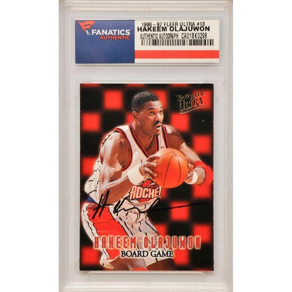 Hakeem Olajuwon Houston Rockets Fanatics Authentic Autographed 1996-97 Fleer Ultra Board Game #13 Card - $109.99