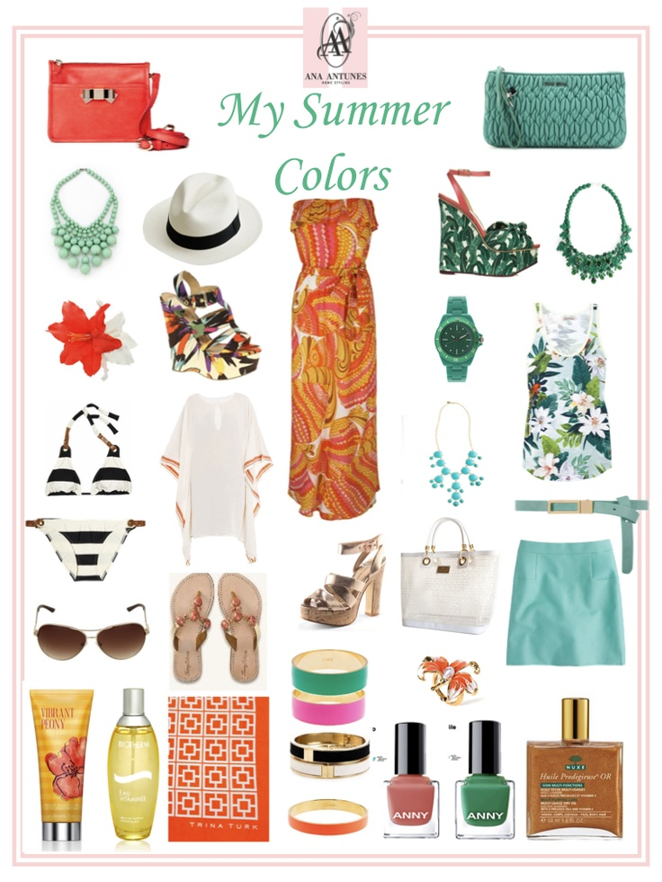 my summer colors, coral, turquoise, green, black & white, lots of white