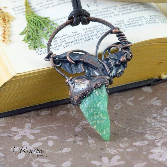 Mistic raw aventurine electrformed pendant by POCIECHAjewelry