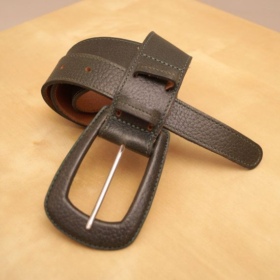 Dark Green Real Leather belt with buckle  vintage by UKAmobile