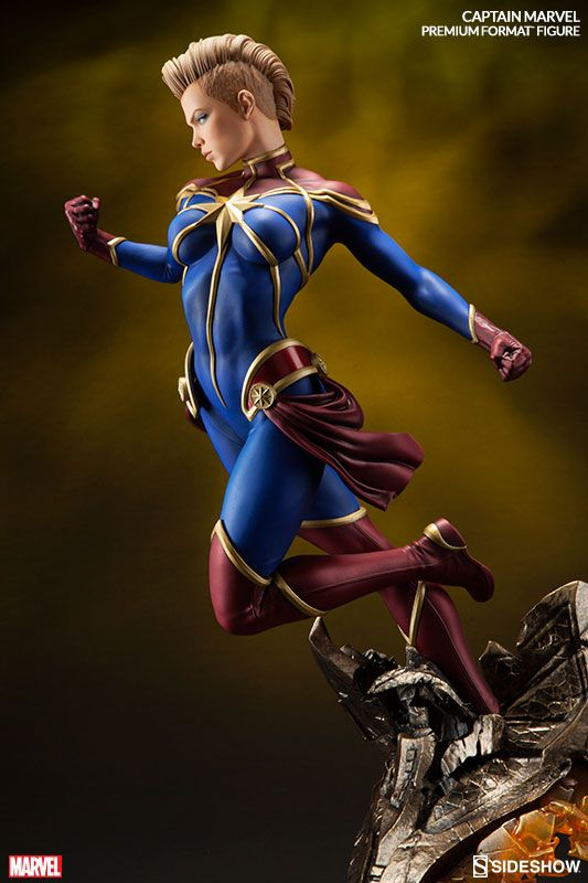 The Captain Marvel Premium Format Figure is now available at Sideshow.com for fans of Marvel Comics' Carol Danvers.