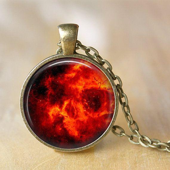 NEBULA Necklace Pendant Fire Space Hipster by LiteraryArtPrints