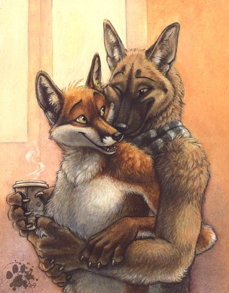 Волчонок и лисенок картинки любовь