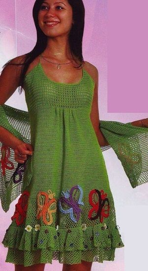 Sundress and crocheted shawl