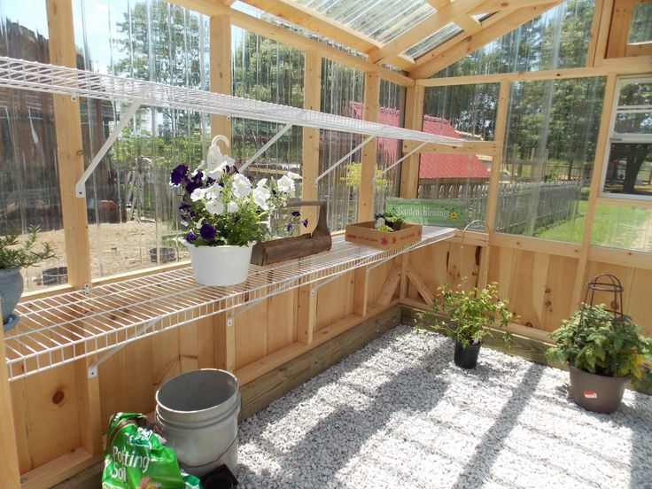 good greenhouse shelves idea -- closet system wire shelves. ♥
