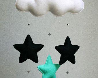 Moderne nuage trois feutre bébé Mobile avec verre cristal