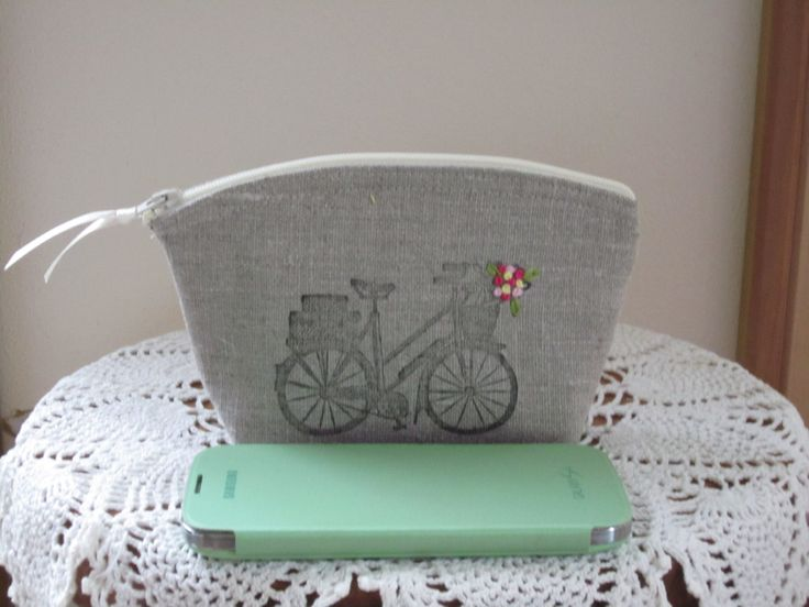 Linen Clutch Cosmetic Bag  Purse Retro Bicycle Hand Embroidery Wedding Bridesmaid Gift - pinned by pin4etsy.com