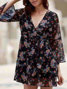 Flare Sleeve Floral Chiffon Dress