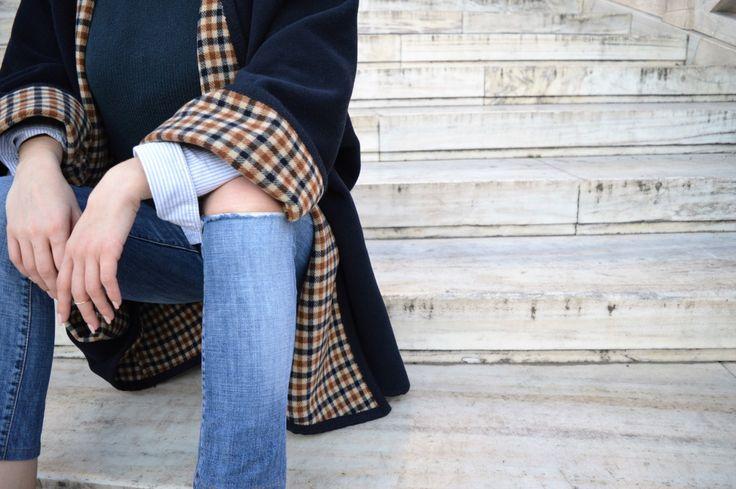 Poncho 100% lana blu double, cappotto elegante unica taglia, albrim collo, donna, inverno, citazioni di moda del giorno, moda, preziosi capi, senza tempo di fattoamanou su Etsy