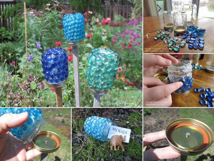 Garden Wish Jars, can also put a mini glow stick or battery op tea light inside http://www.empressofdirt.net/gardentreasurejars/