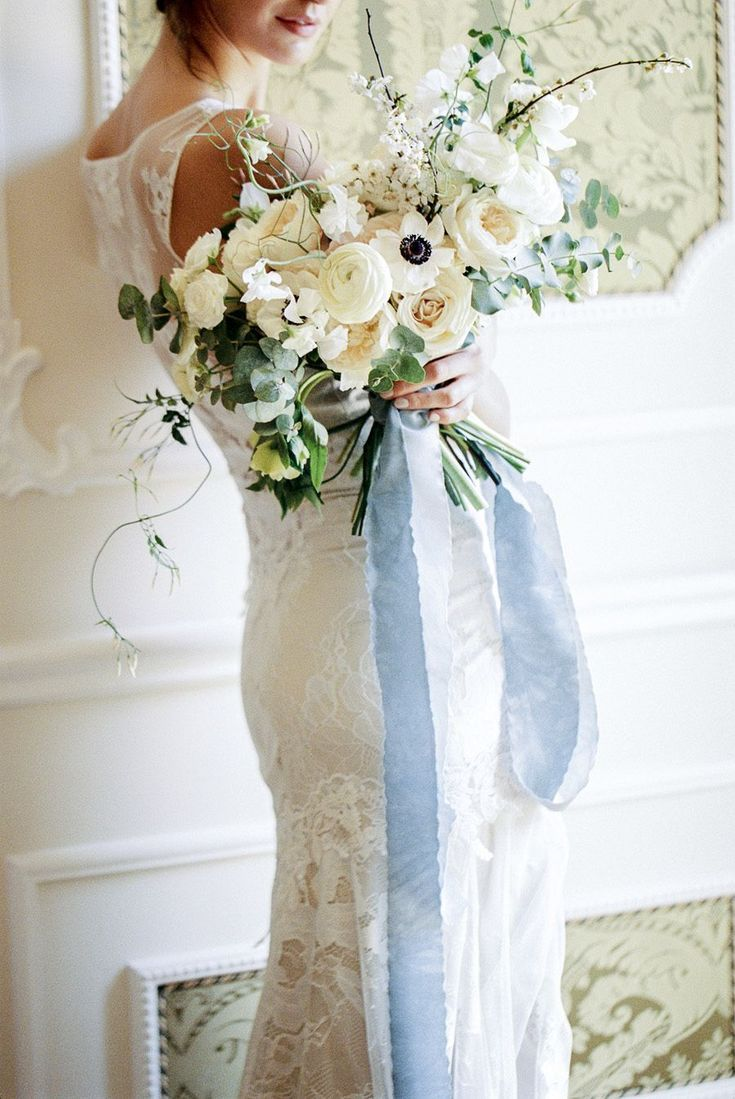 Elegant Neutral Florals With A Large Blue Silk Ribbon Love This