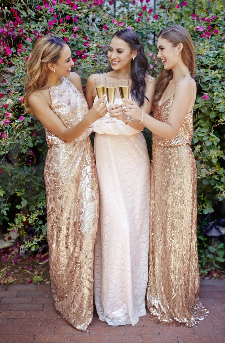Blush and rose gold sequin dresses by Donna Morgan: rent the Tiffany, Olive and Courtney dresses with Vow To Be Chic! Discover more bridesmaid dresses to rent at vowtobechic.com