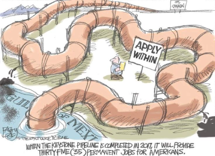 Bagley Cartoon: Keystone Pipeline Jobs Bonanza   The Salt Lake Tribune