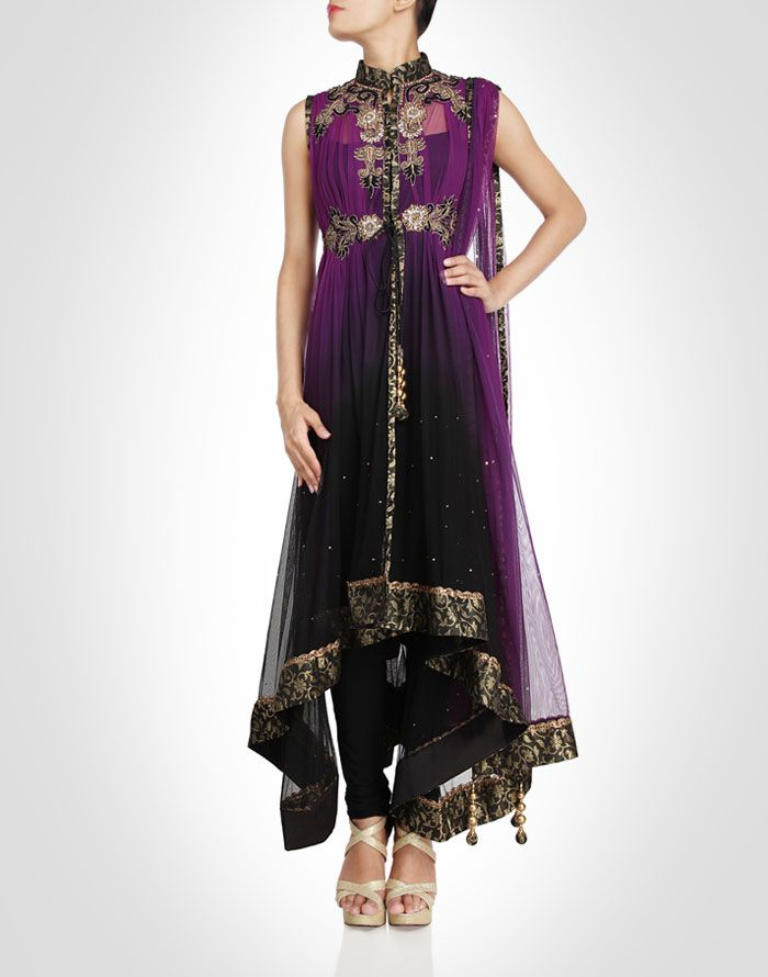 Purple and black ombre toned anarkali. also available in orange, pink, beige and peach. Shop Now: www.kimaya.in