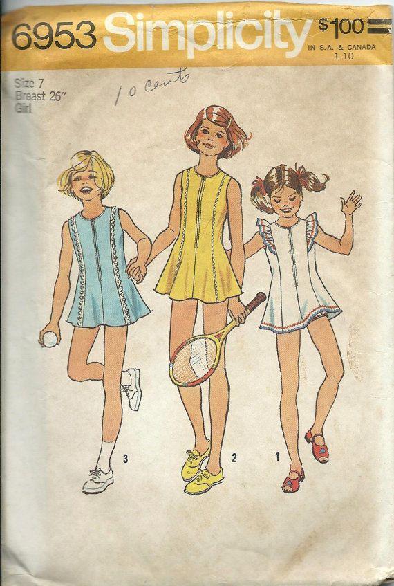 VTG Simplicity 6953 Girls Tennis Dress and by DawnsDesignBoutique
