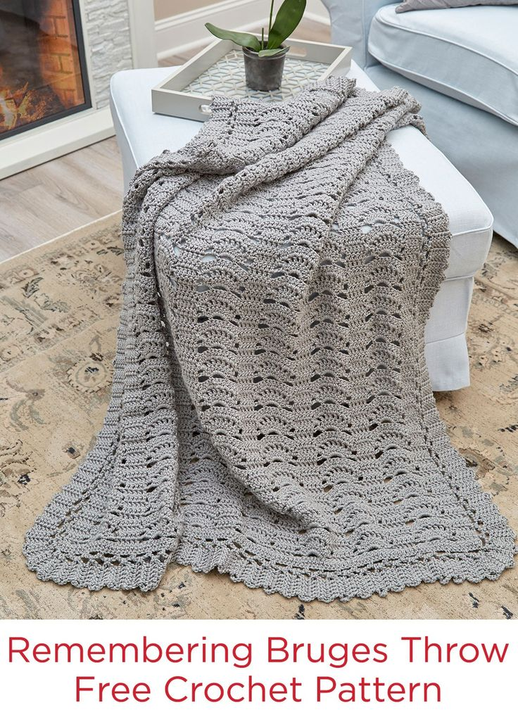 638 best knit and crochet blankets images on pinterest remembering bruges throw free crochet pattern in red heart super saver yarn dt1010fo