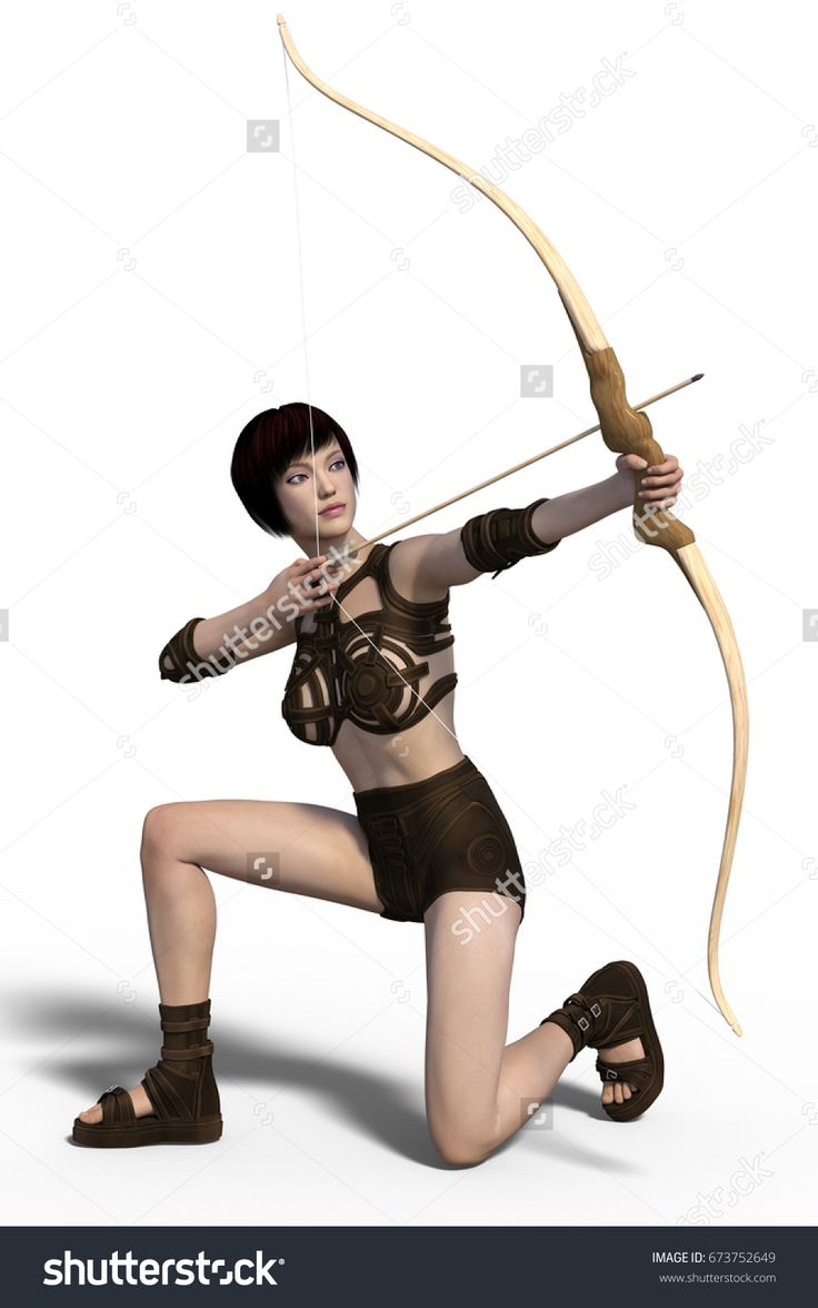 Young beautiful archer girl isolated on whithe background. 3d render.