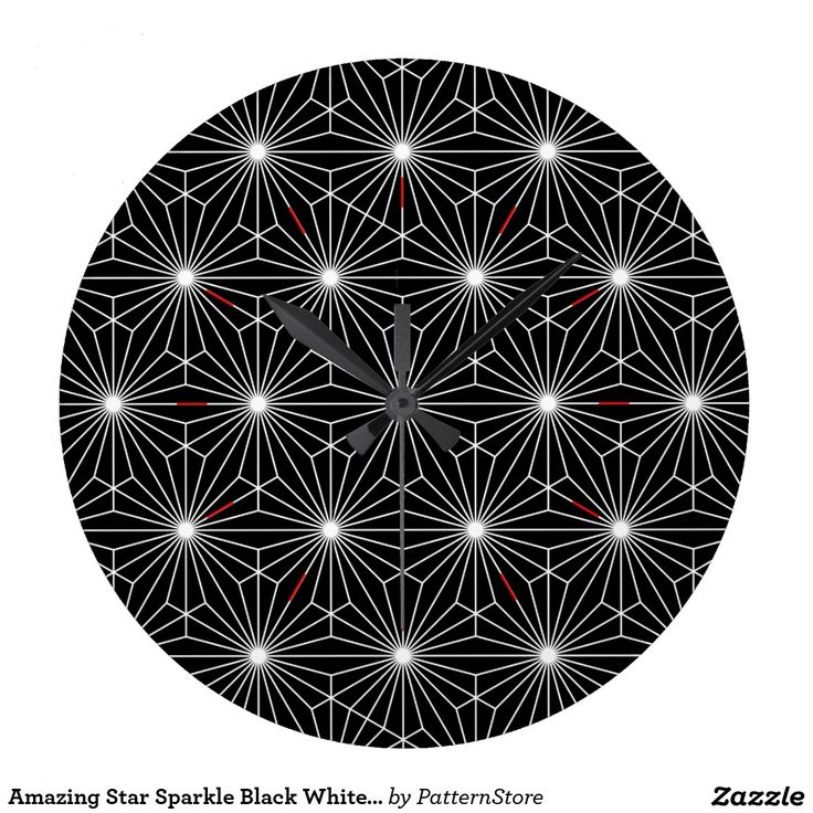 Amazing Star Sparkle Black White Optical Illusion Wall Clocks from #PatternStore