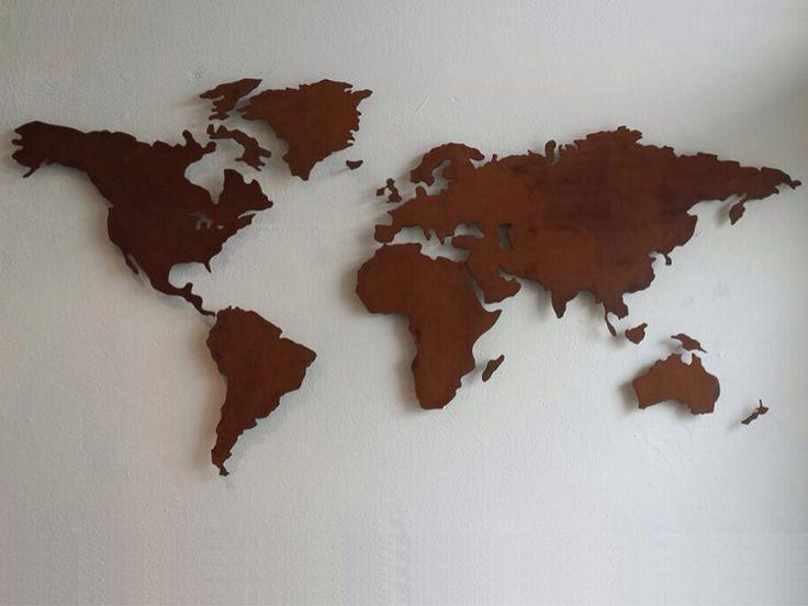 Cortenstaal Wereldkaart. www.CortenStaalTwente.nl