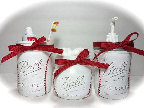 Baseball Bathroom Decor Gift Set By MonisMasonCreations