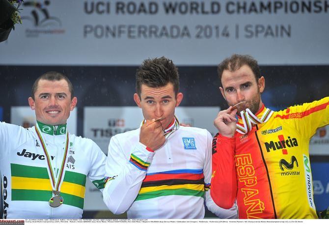 #Ponferrada2014 Men's Elite Road Race: #Ponferrada - #Ponferrada 254.8km photos - Worlds podium (l-r): Simon Gerrans (Australia), Michal Kwiatkowski (Poland) and Alejandro Valverde (Spain)