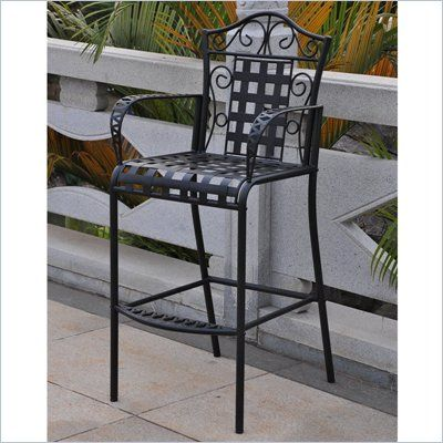 International Caravan Mandalay Iron Bar Height Patio Chairs   Set Of 2    3467 CH