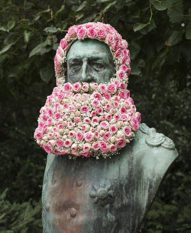 geoffroy mottart grows flower beards on famous busts in belgium