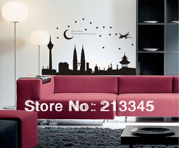 [Saturday Mall]   Malaysia Petronas Twin Towers Modern Architecture Living Room  Home Stickers Murals Part 78