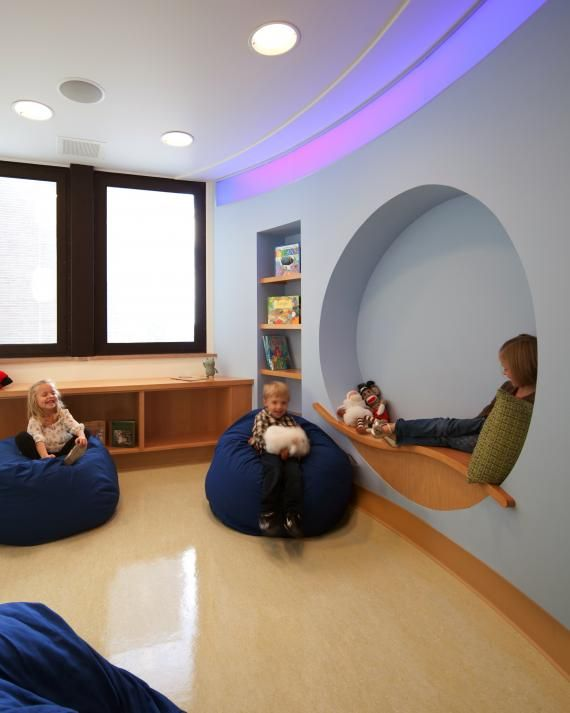 The Amplatz Children's Hospital's Child/Adolescent Mental Health program houses rooms for sensory and music therapies, as well as a quiet room complete with cocoon-like benches and bean-bag chairs. Photo credit: Brandon Stengel, www.farmkidstudio.com