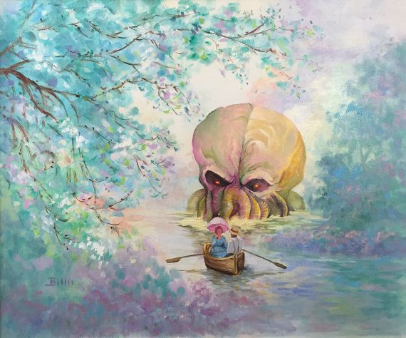 HP Lovecraft Cthulhu Parody Painting 'Lovecraft by DavePollot