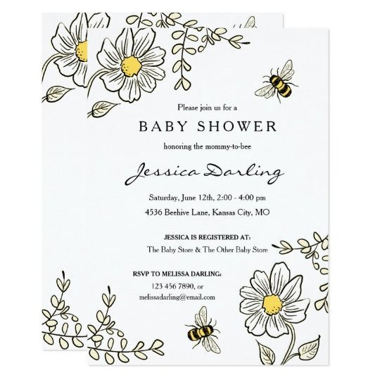 Bee Baby Shower Invitations for Bumble Bee Shower | Zazzle.com