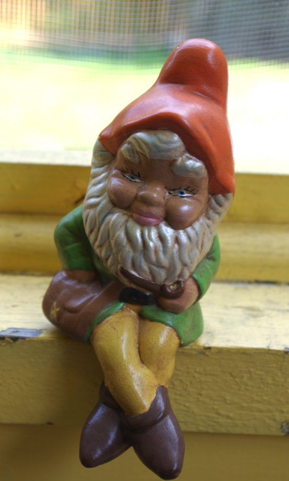 Small Vintage 1970s Ceramic Sitting Garden Gnome Elf Figurine Statue