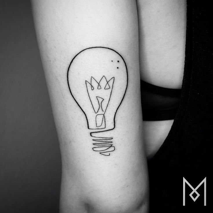 Lightbulb tattoo, unusual but cool.