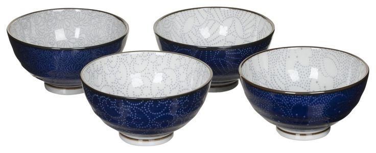 Blauw 4 Rijstkommen indigo | V&D