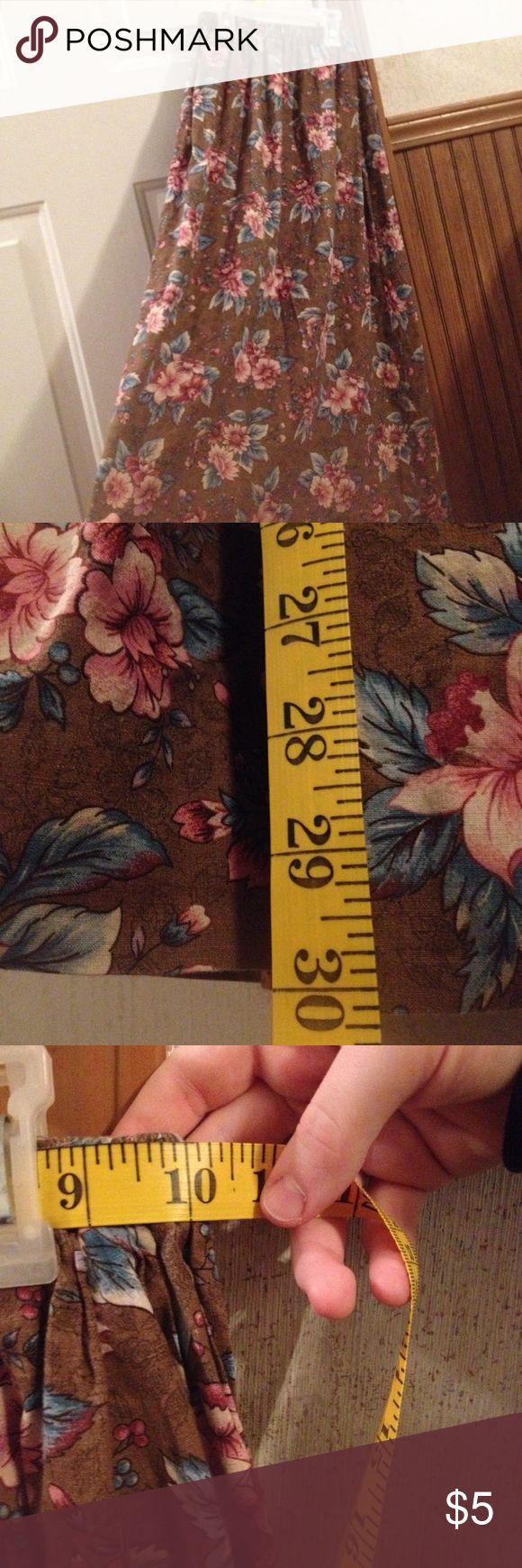 """Homemade skirt Brown, pink, & blue floral skirt.  Length: 30.5"""" Waist: 10"""" ??? Bottoms Skirts"""